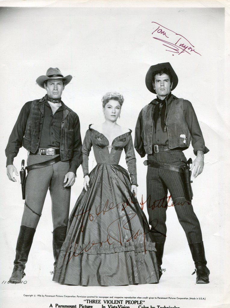 Charlton Heston, Anne Baxter & Tom Tryon